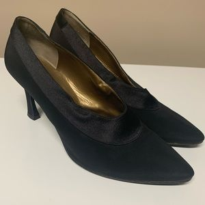 Vintage Yves Saint Laurent Black Satin Trim Heels